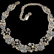 Duane 1950s Blue Rhinestone Flower Necklace Vintage