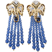 Elizabeth Taylor Elephant Walk Dangle Earrings 1993 Vintage