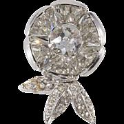 Eisenberg Flower Rhinestone Pin Clip Brooch