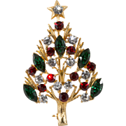 Eisenberg Ice Rhinestone Christmas Tree Pin Brooch
