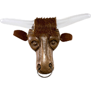Elzac 1940s Wood Lucite Longhorn Steer Brooch Pin