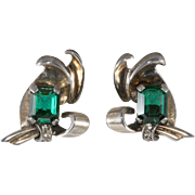 Sterling Silver Earrings with Emerald Green Rhinestones Vintage 1940s