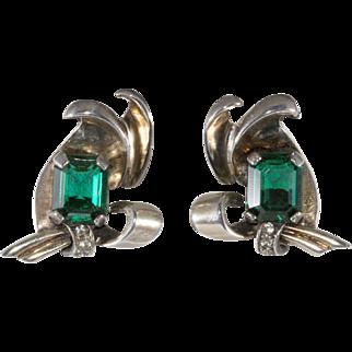 Sterling Silver Earrings with Emerald Green Rhinestones Vintage 1940s