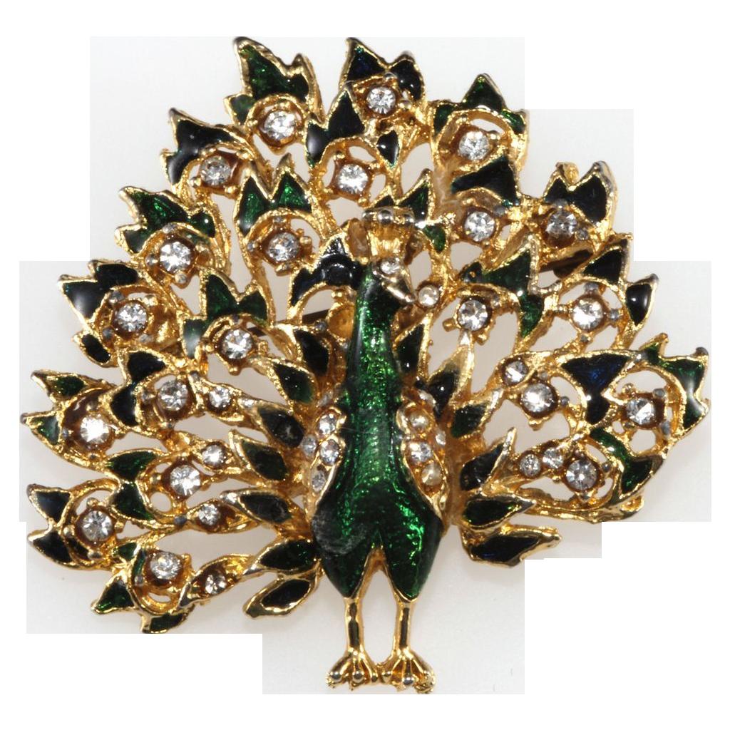 1960s Rhinestone & Enamel Peacock Brooch Pin