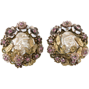 Eugene Pink Rhinestone Faux Pearl Earrings 1950s Vintage
