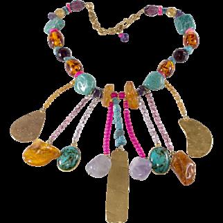 Philippe Ferrandis 1980s Dangle Bib Necklace