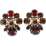 Philippe Ferrandis Brown Amber Orange Rhinestone Earrings