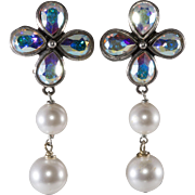 Philippe Ferrandis Iridescent and Faux Pearl Rhinestone Earrings