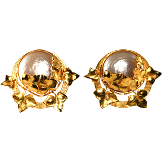 Philippe Ferrandis LARGE Faux Pearl and Gold Leaf Earrings 1980s Vintage