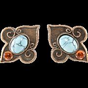 Philippe Ferrandis Fleur de Lis Turquoise Cabochon Earrings