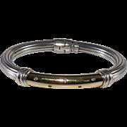 Flli Menegatti 14K Gold Sterling Silver and Diamond Hinged Bangle Bracelet