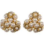 Monette Paris French Designer Faux-Pearl Cluster Earrings