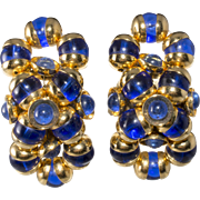 Monette of Paris Cobalt Blue Bead Earrings French