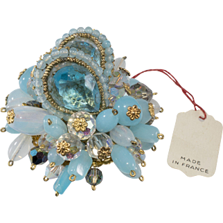 French Turquoise Blue Beaded Brooch 1950s Vintage
