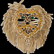 Lion Brooch Fringe Main Statement Pin Vintage 1960s