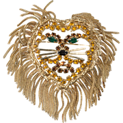 Lion Brooch Fringe Main Statement Pin Vintage 1960s
