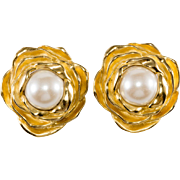 Givenchy Rose Earrings w/ Faux Pearls