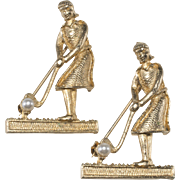 Wiesner Pair of Vintage Woman Golfer Novelty Pins Brooches