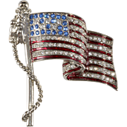 Graziano Rhinestone American Flag Pin Brooch Made in USA