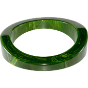 Bakelite Bangle Green Marbled Vintage