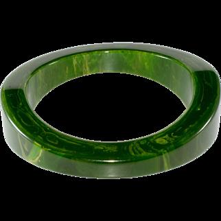 Bakelite Bangle Green Marbled Vintage