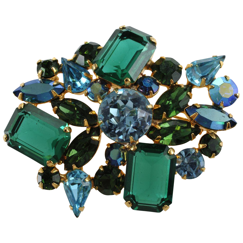 1950s Blue & Green Rhinestone Designer Quality Brooch Pin