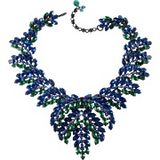Blue Green Rhinestones Statement Necklace Marked Austria