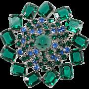 Green and Blue Rhinestones Brooch Pin Vintage