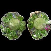 1960s Green Glass Cluster Earrings