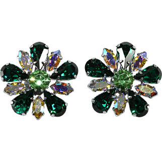 Green and Iridescent Rhinestone Flower Earrings 1950s Vintage
