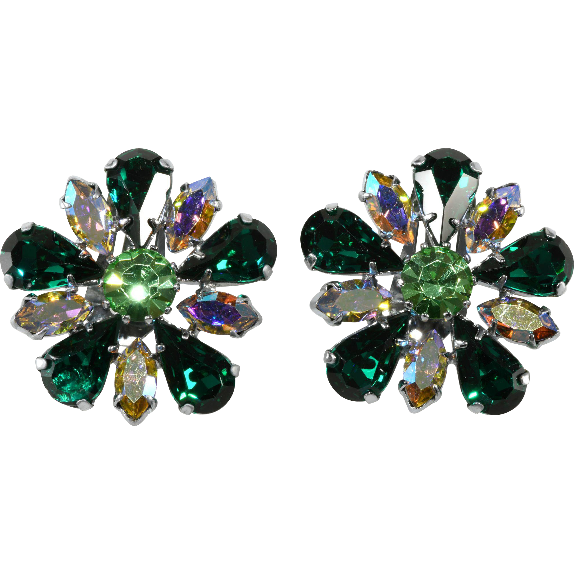 Green and Iridescent Rhinestone Flower Earrings 1950s Vintage