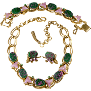 German Art Glass Green Pink Purple Necklace Bracelet Earrings Set