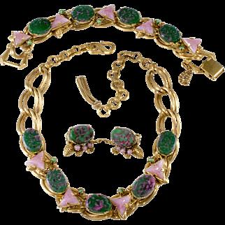 German Art Glass Green Pink Purple Necklace Bracelet Earrings Set
