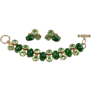 1960s Green Art Glass Toggle Clasp Bracelet Earrings Set
