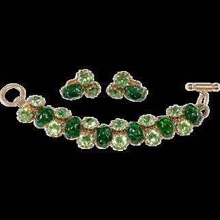 1960s Green Art Glass Toggle Clasp Bracelet Earrings Set