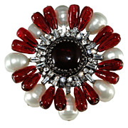 Gripoix Paris Red Glass w/ Rhinestones & Faux Pearls Brooch Pin