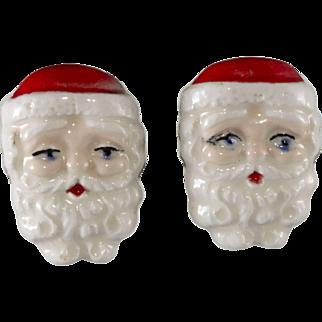 Porcelain Santa Claus Earrings Vintage Christmas