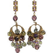 Stanley Hagler 1960s Bead Dangle Chandelier Earrings Vintage