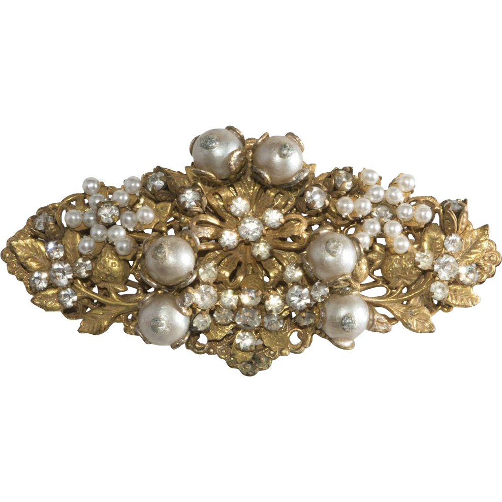 On LAYAWAY - Authentic Stanley Hagler Pearl & Rhinestone Brooch