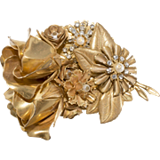 Stanley Hagler 1980s Rose Rhinestone Brooch Pin