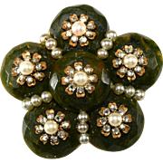 Miriam Haskell Green Glass & Rhinestone Cluster Brooch Pin Vintage