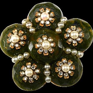 Miriam Haskell Green Glass & Rhinestone Cluster Brooch Pin Vintage