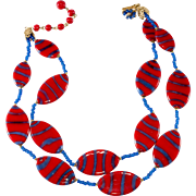 Miriam Haskell Red Glass Blue Stripe Necklace