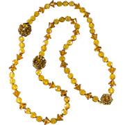 Miriam Haskell Rhinestone Ball Amber Glass Bead Necklace