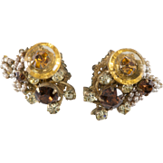 Miriam Haskell Amber Glass Rhinestone Earrings Vintage