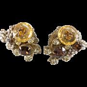 Miriam Haskell Amber Glass Rhinestone Earrings Vintage