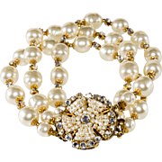 Miriam Haskell Three Strand Faux Pearl Bracelet with Clear Rhinestones