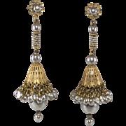 Miriam Haskell 4 Inch Faux Pearl Dangle Earrings Vintage