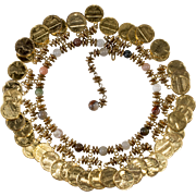 Miriam Haskell Coin Collar Necklace Vintage 1970s