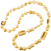 "Miriam Haskell Custard & Ivory 30"" Bead Necklace"